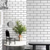 Wallpaper Dinding BATA KERAMIK PUTIH Stiker Tembok Rumah Dapur Kayu