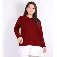 Blouse Big Size Wanita LD 112 Cewek XXL Sarah - Merah