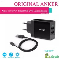 Kepala Charger Anker PowerPort 2 Dual USB Wall Charger Power IQ ORI