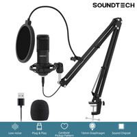 SOUNDTECH USB Microphone Mic Condenser Recording Streaming Plug & Play
