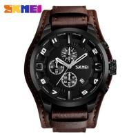 Jam Tangan Analog Pria Kulit / SKMEI - 9165 / ANTI AIR - Brown Black