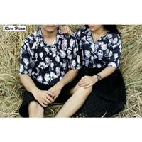 FortKlass Baju Atasan Kemeja Pastel Couple Wanita Pria / Baju Caouple - RETRO HITAM