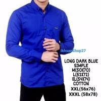 M L XL XXL XXXL kemeja polos lengan panjang biru tua murah grosir