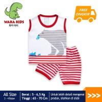 Skabe Baju Anak Laki Laki Bear Salur Baby Putih Usia 3-4 Bulan 3226