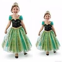 Kostum Princess Anna Frozen warna hijau - baju Frozen dress ultah anak