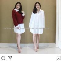 Mini dress kemeja wanita plus sweater merah marun