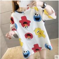 T Shirt Big Size Cartoon Elmo Comic Style Fashion Wanita