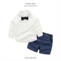 ADAM Set Pakaian Hem Dasi Pesta Bayi Anak Laki Baju Baby Boy Bow Party