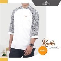 Baju Koko Pria Putih Motif Batik Ukuran M - XXL
