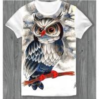 Kaos Baju Gambar Burung Hantu Owl Unik Lucu Pria Wanita Binatang Bird