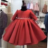 baju pesta anak perempuan bertabur mutiara warna merah party dress