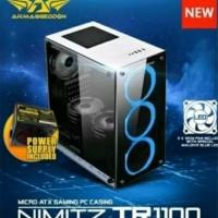 Casing Armageddon NIMITZ TR1100 Tempered Glass Gaming Case - Putih