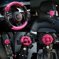 Camellia Full Set 5 in 1   Sarung Stir, Safety Belt, Bantal Jok Mobil