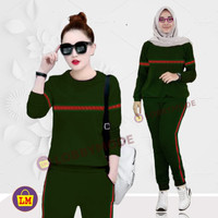 LM 03964 Baju Setelan Wanita Training Garis Termurah,Terkini ( XXXL ) - Army, XXXL