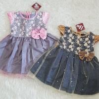 Baju Dress Anak Bayi Perempuan Dress Pesta Kondangan Anak Bunga Pita