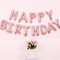 Balon Foil Huruf Set Happy Birthday Rose Gold