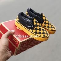 Sepatu anak vans slip on checkerboard hitam Black gold 19 - 35