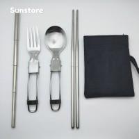 [SPECIAL] Paket Sendok Garpu Sumpit Sedotan Stainless Lipat Travel Set