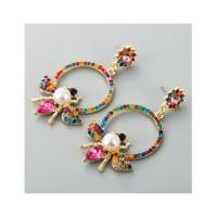 LRC Anting Tusuk Fashion Alloy Pearl Bee Cutout Earrings D94361