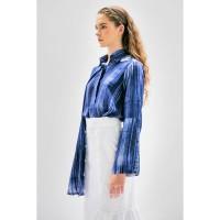 ARUMI SHIRT BRUSH - Kemeja Batik Kuas Indigo Biru