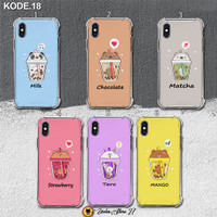 Custom Case Anti Crack Soft 2D Bubble Boba Milk Kode 18 All Type - 01