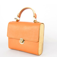 Tas Bambu Kulit asli / Leather & Bamboo purse (Tan)