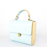 Tas Bambu Kulit asli / Leather & Bamboo purse (baby blue)