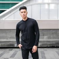 Kemeja Casual Pria CIANGI V2 Long shirt Slim fit Mandarin Collar Black