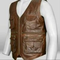 jaket rompi kulit asli 100% garut warna coklat