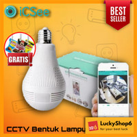 WIRELESS CCTV ICSEE SPY CAMERA BULB PREMIUM 360 FISHEYE BOHLAM LAMPU I