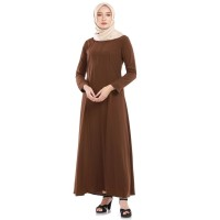 gamis wanita warna coklat wolfis dress muslim size M-L-XL-XXL GSL-073