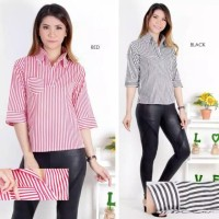 kemeja salur stripe garis garis atasan baju blouse hem wanita