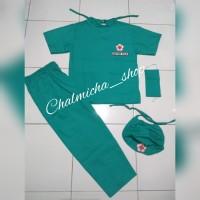 Baju Setelan Karnaval Kostum Profesi Dokter Bedah Anak Hijau Tosca
