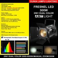 Fresnel LED 300W 2in1 3000-6000K Auto Zoom Lampu Sorot Studio