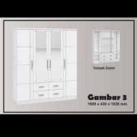 terbaru GRaver lemari pakaian 4 pintu full cermin minimalis Lp Bw 010