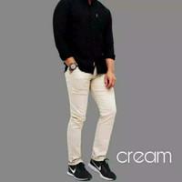 Celana chino panjang / celana cino pria / chinos murah - Cream 28-32