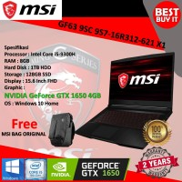 Laptop Gaming MSI GF63 9SC 9S7-16R312-621 X1|i5-9300|8GB|1TB HDD|128GB