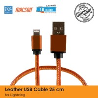 LOLYPOLY KABEL USB IPHONE 25CM LEATHER - Cokelat Tua