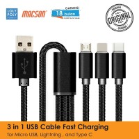 LOLYPOLY Kabel Data Fast Charging 3in1 Micro USB/Lightning/Type-C 88 - Abu-abu
