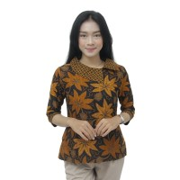 Batik Wanita Atasan Blouse Modern Model Kerah Besar Batik Kerja Wanita