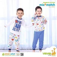 VELVET JUNIOR Bamboo Cotton Mix&Match Piyama Boy Baju Tidur Anak