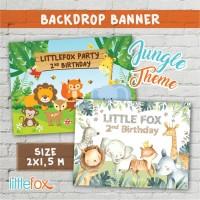 Banner / Backdrop / Spanduk Ulang Tahun Woodland Animal / Jungle