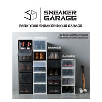 Sneaker Box | Kotak Sepatu | Box Sepatu | Drop Front Shoe Box Garage S - Hitam