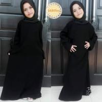 Abaya Gamis Anak Polos Hitam Tanpa Motif Busana Muslim Anak Wanita