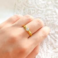 Cincin wanita atau pria elegant model zirkon simple emas asli