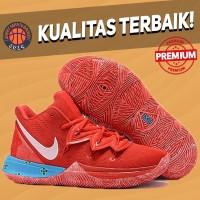 Sepatu Basket Sneakers Nike Kyrie 5 Larry Red Blue Pria Wanita