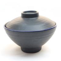 Artisan Ceramic | Black Doff Miso Cup with Lid | Mangkok Keramik