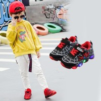Sepatu Anak Laki-laki & Perempuan Led Model Spiderman Bahan Kanvas