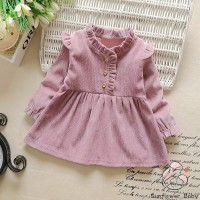 ❀ zz-baby Dress Princess Anak Perempuan Lengan Panjang Warna Polos