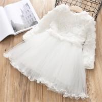Nnfl Dress Tutu Princess Anak Perempuan Lengan Panjang Warna Putih